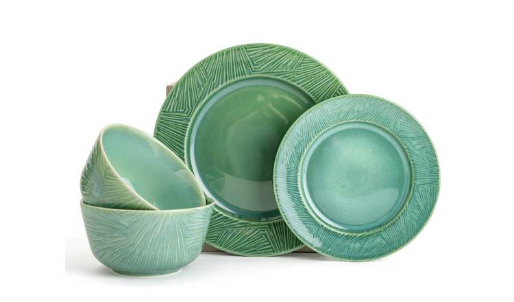 Habitat Glazed 12 Piece Dinner Set - Green