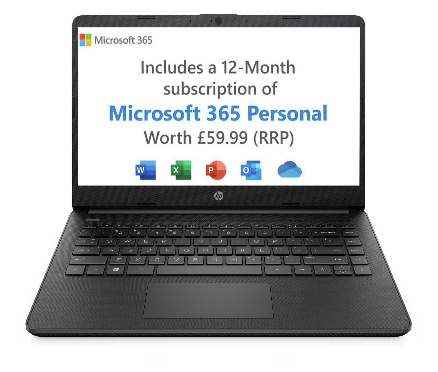 HP 14in Ryzen 3 4GB 128GB FHD Laptop - Black