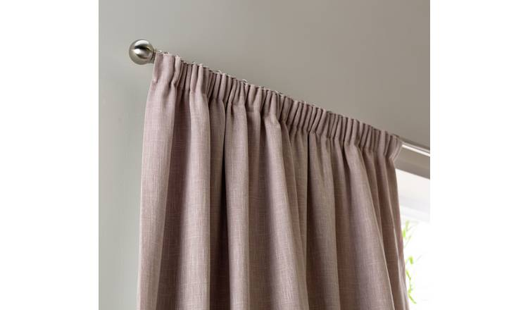 Habitat Blackout Linen Look Pencil Pleat Curtains Blush