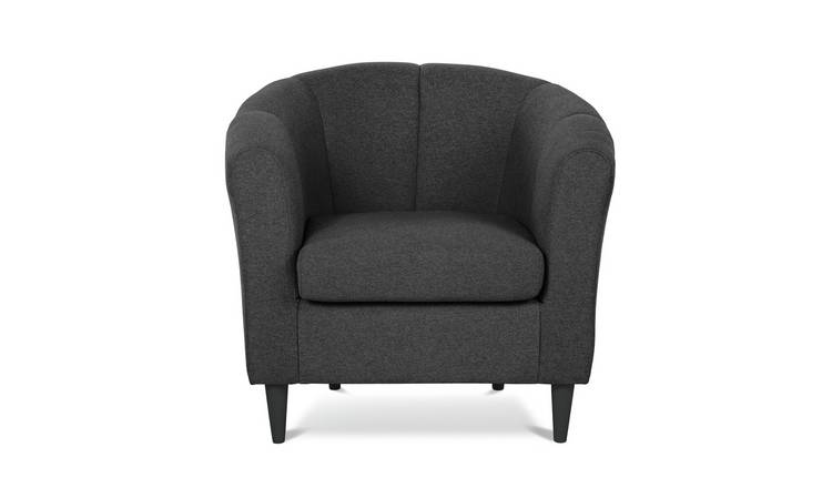 Habitat Ayres Fabric Tub Chair - Charcoal
