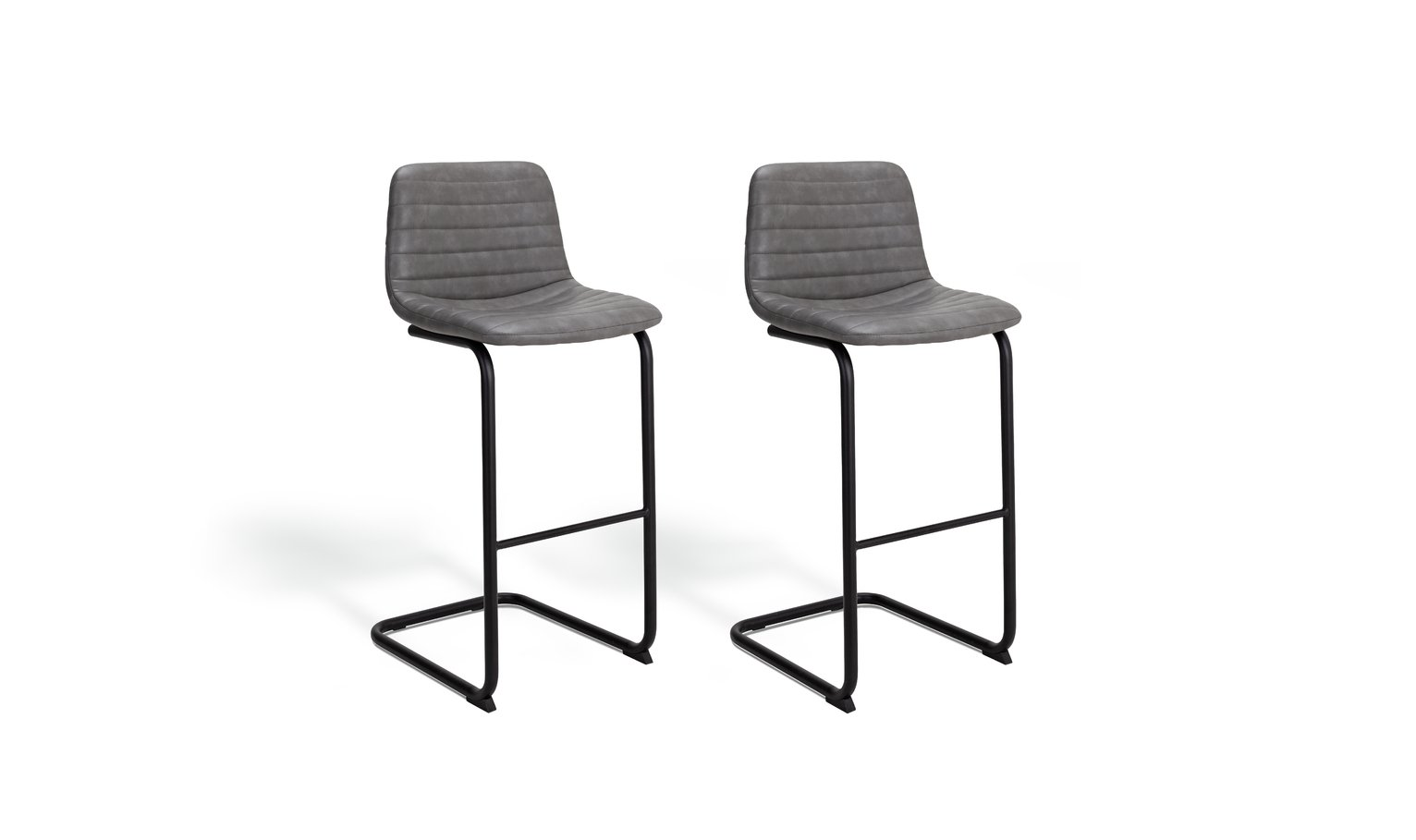 Argos Home Logan Pair of Faux Leather Bar Stools - Grey