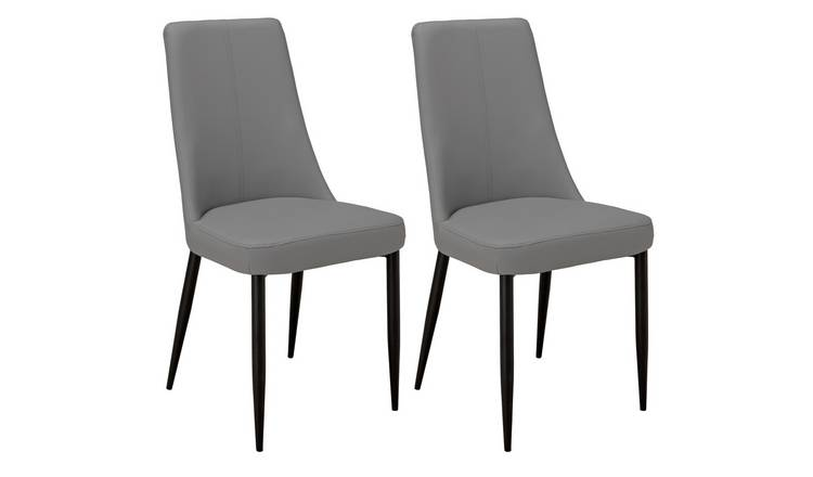Argos Home Isla Pair of Faux Leather Dining Chairs - Grey