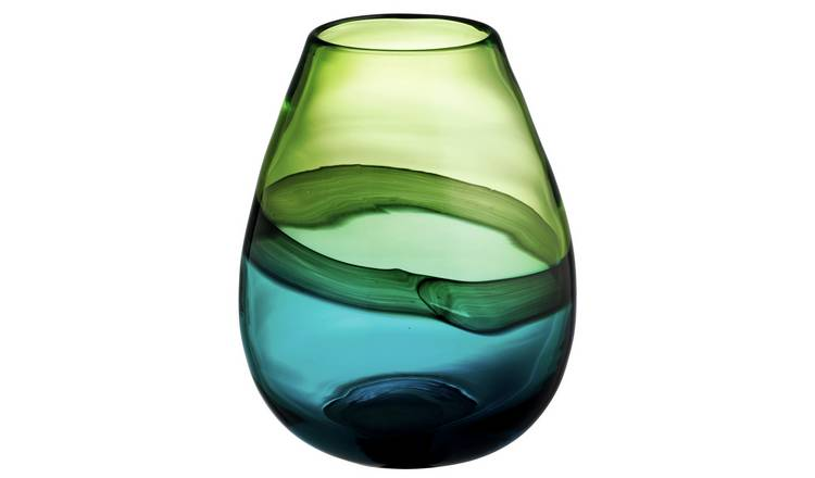 Habitat Cielo Blue And Green Tulip Glass Vase