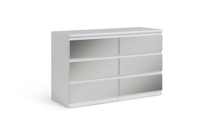 Habitat Jenson 3+3 Drawer Mirrored Chest - White