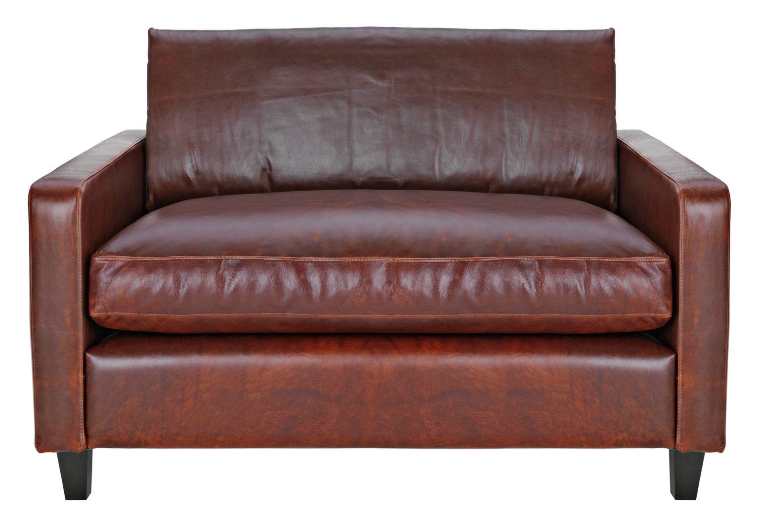 Habitat Chester Leather Compact Sofa - Tan
