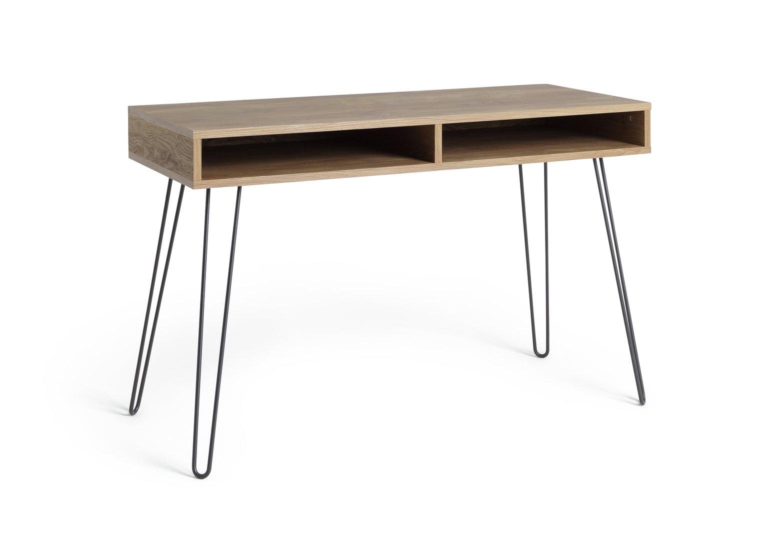 Habitat Klark Hairpin Office Desk - Dark Wood Effect
