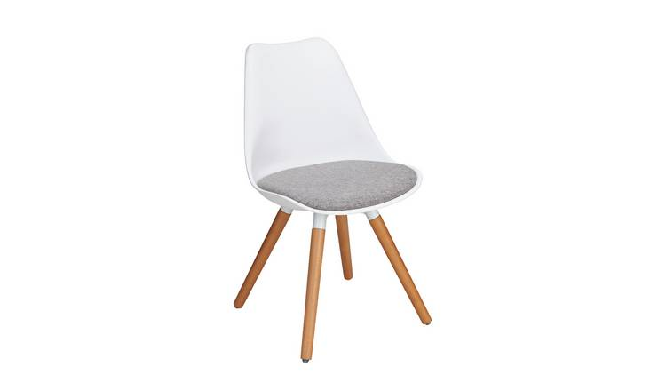 Argos Home Charlie Fabric Dining Chair - White & Grey