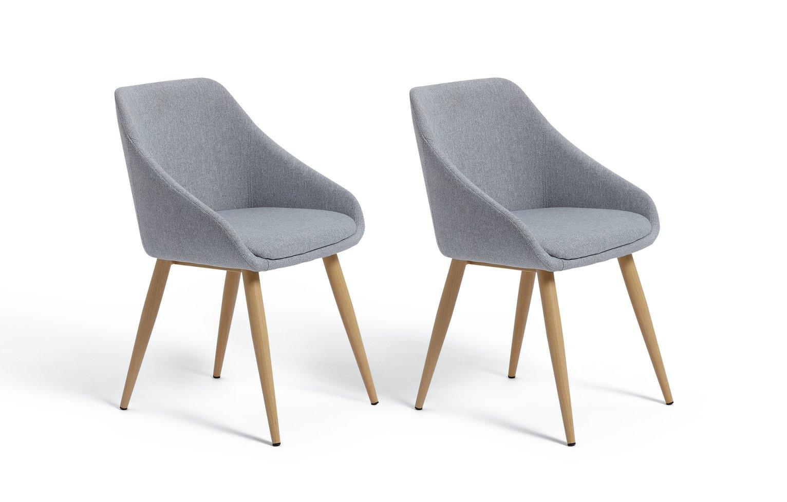 Argos Home Skandi Pair of Fabric Dining Chairs - Grey