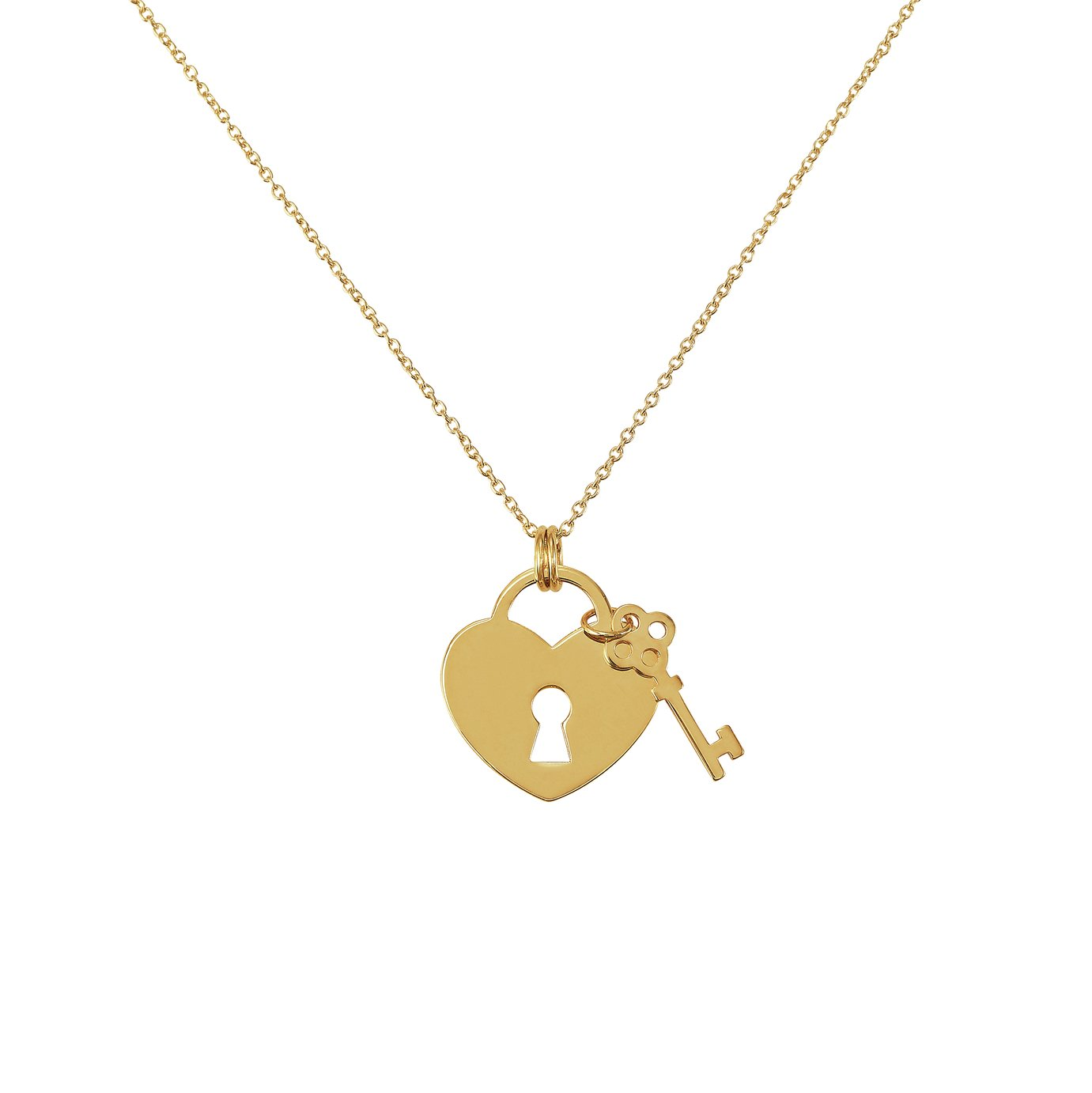 Revere 9ct Gold Heart Padlock with Key Pendant Necklace