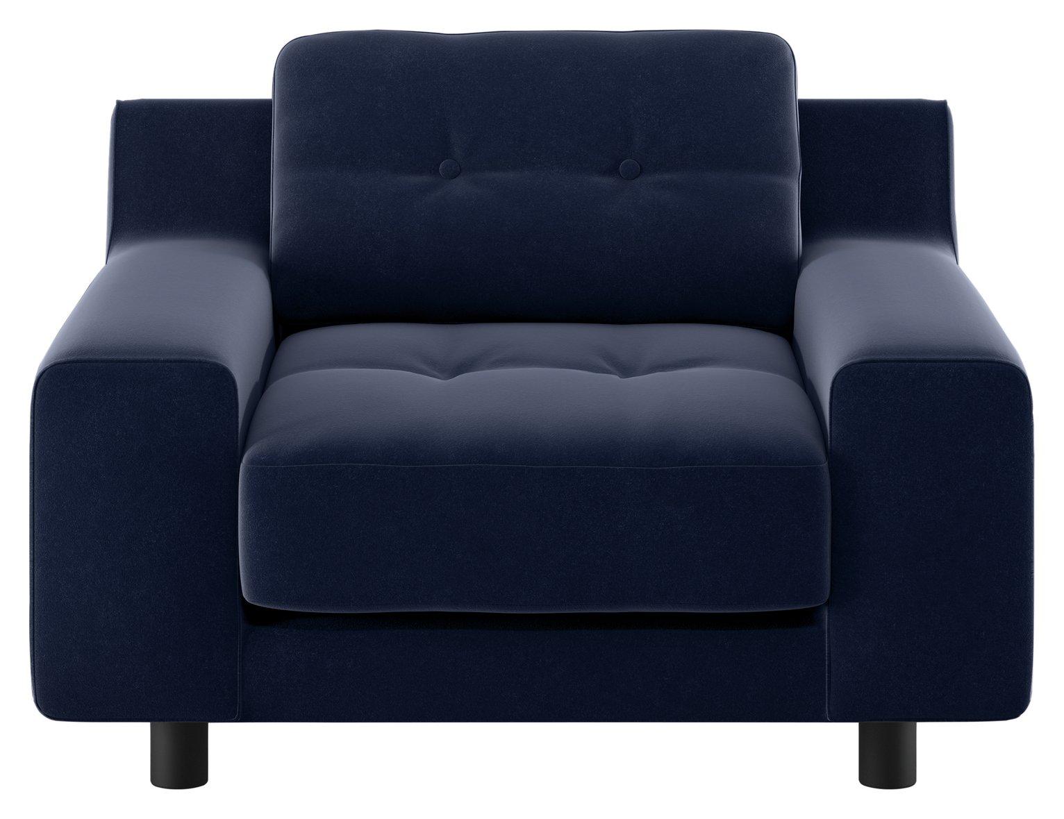Habitat Hendricks Navy Velvet Buttoned Armchair