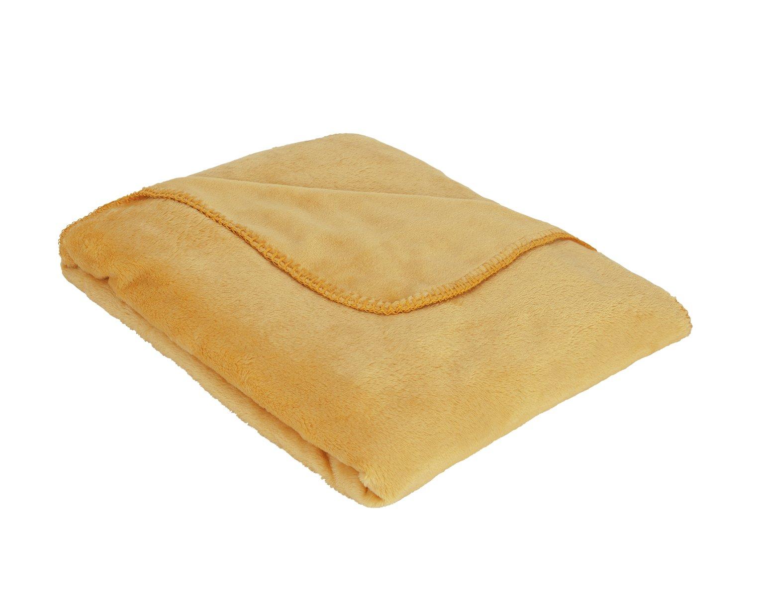 Argos Home Supersoft Fleece Throw - Mustard