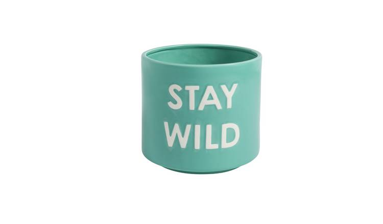 Argos Home Slogan Planter - Turquoise Blue