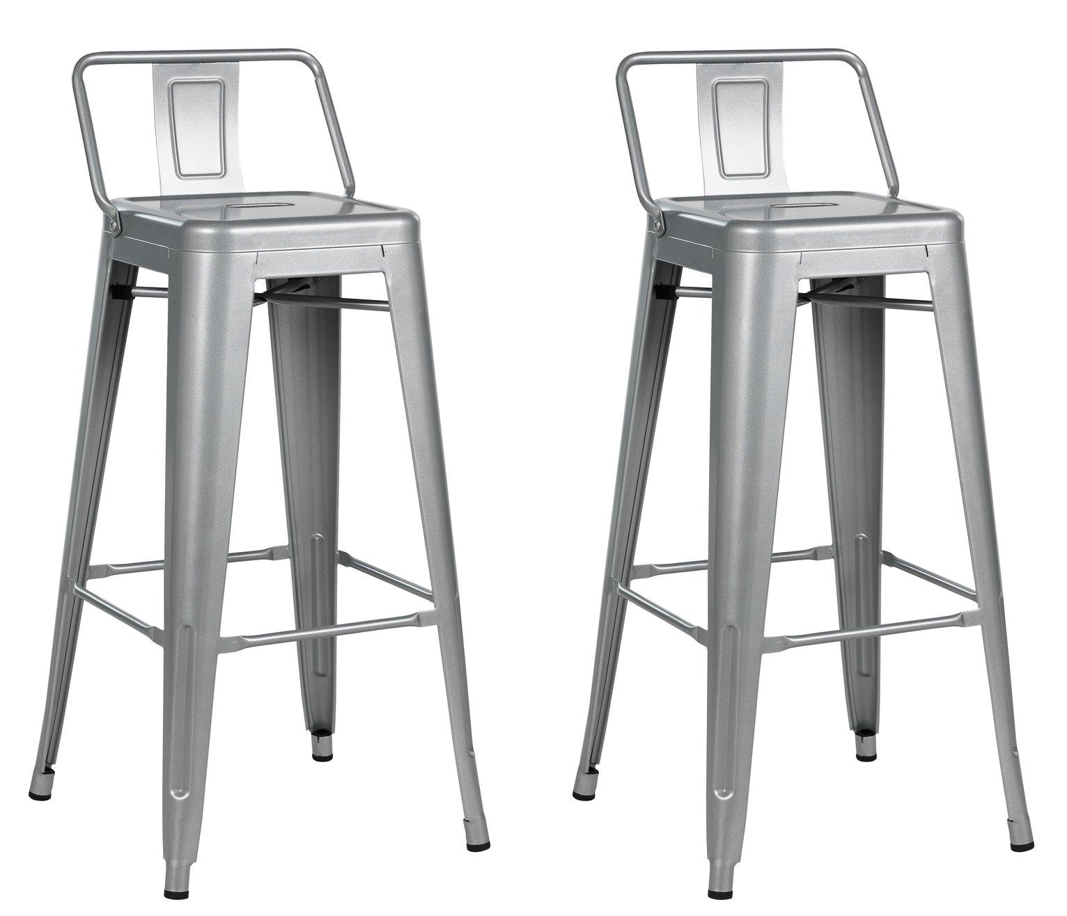 Argos Home Industrial Pair of Metal Bar Stools - Matt Silver