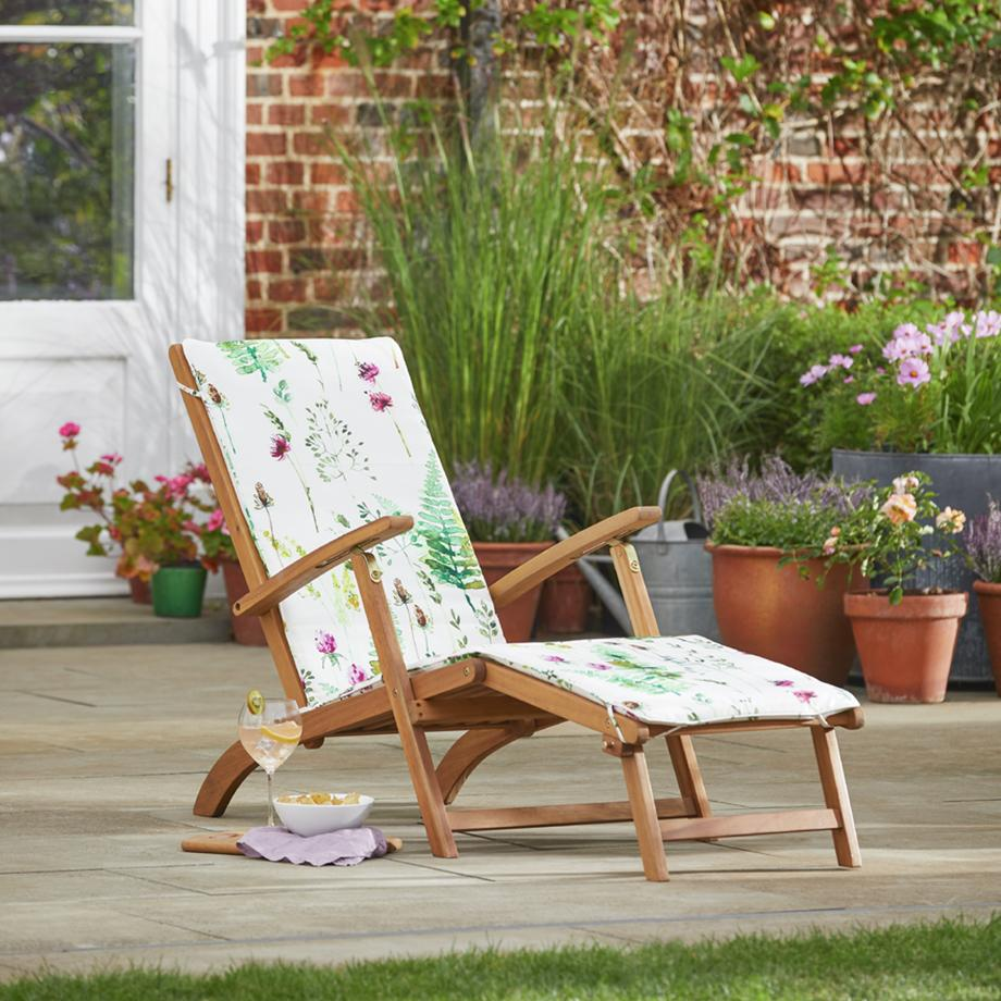 Argos Home wooden steamer chair with moorland cushion.