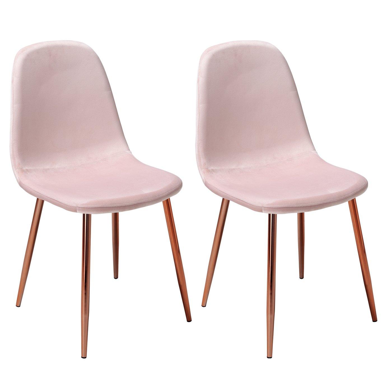 Argos Home Beni Pair of Velvet Dining Chairs - Blush