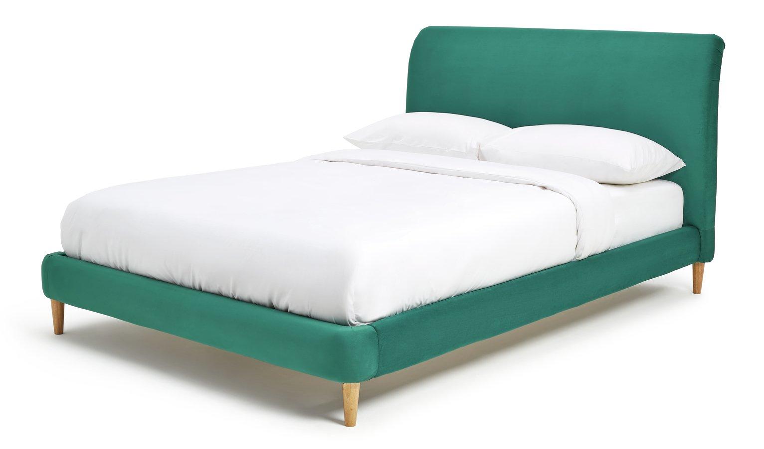 Argos Home Macaroon Velvet Double Bed Frame - Green
