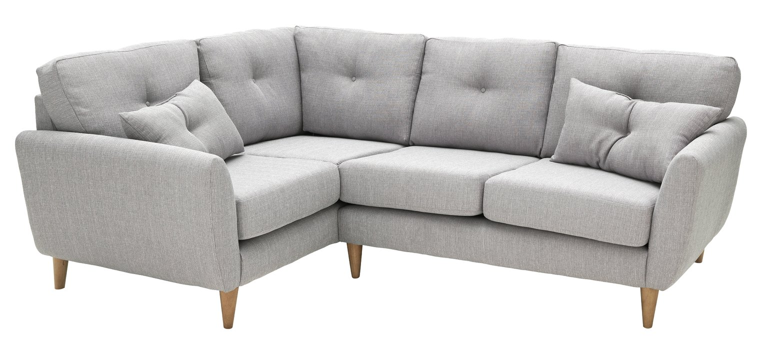 Argos Home Kari Left Corner Fabric Sofa - Light Grey