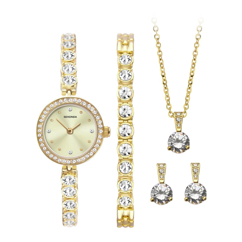 Sekonda Gold Watch, Bracelet, Necklace and Earrings Gift Set