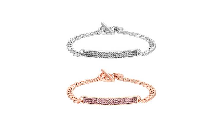 Lipsy Silver & Rose Colour Bar Bracelets Pack of 2