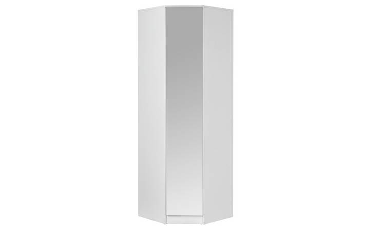 Argos Home Cheval Gloss 1Dr Corner Mirrored Wardrobe - White