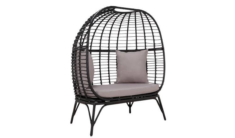 Habitat Rattan Effect 2 Seater Egg Bench - Black