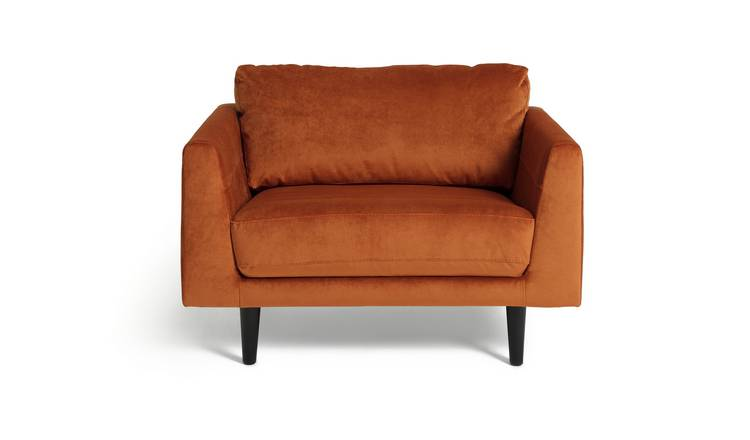 Habitat Jackson Velvet Cuddle Chair - Orange