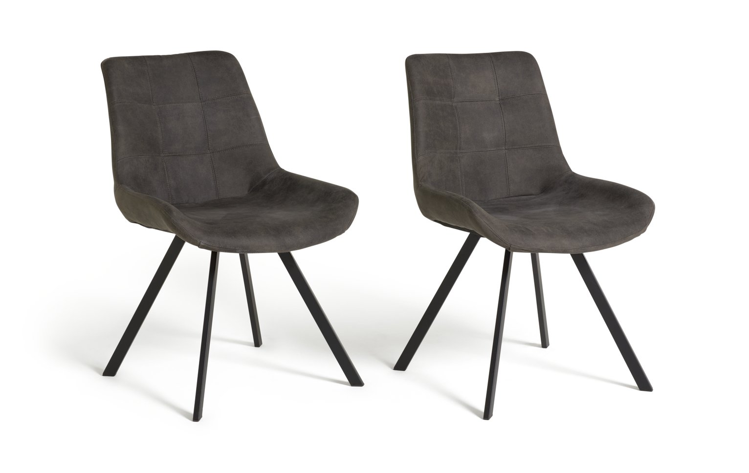 Argos Home Tribeca Pair of Microfibre Dining Chairs - Black