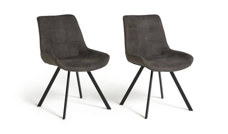 Habitat Tribeca Pair of Microfibre Dining Chairs - Black