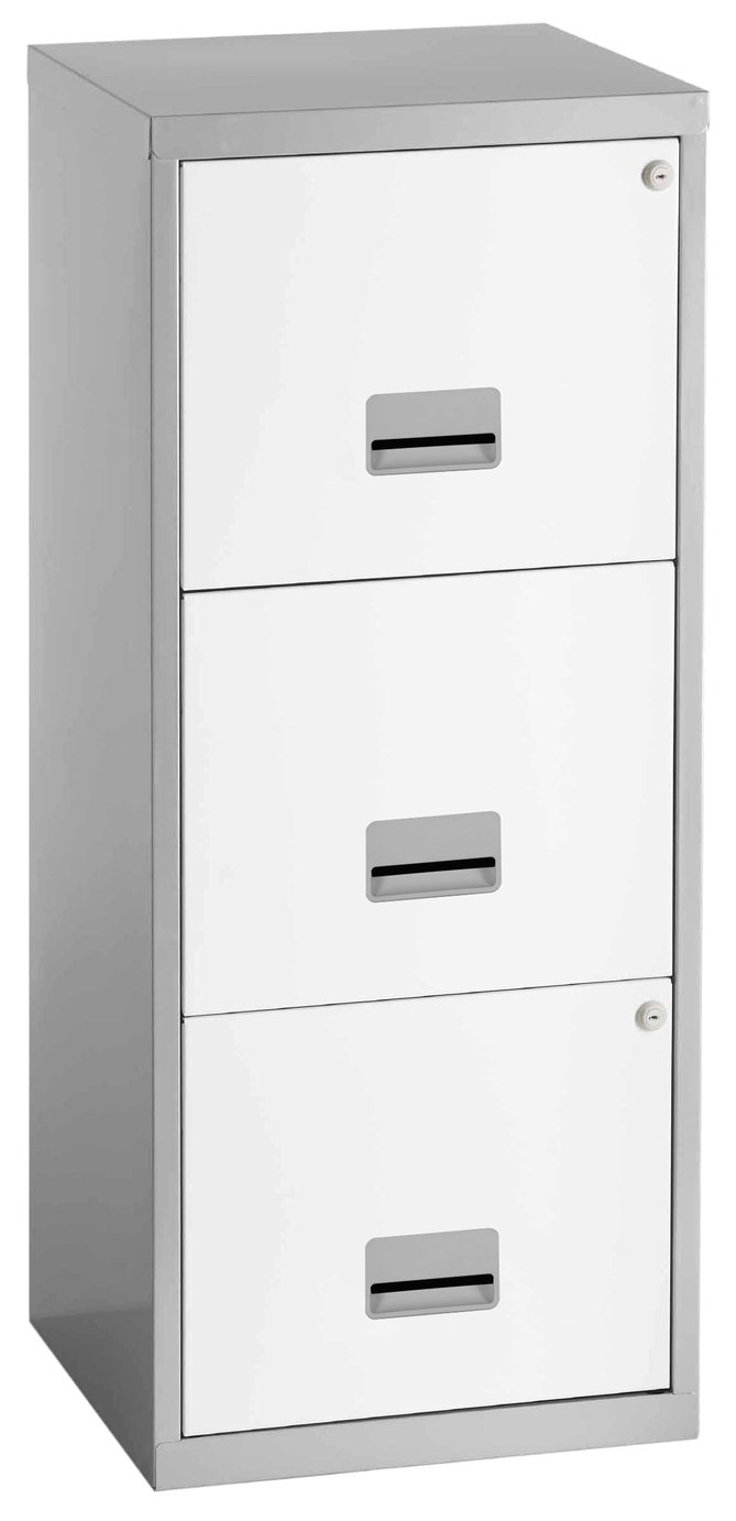 Pierre Henry 3 Drawer A4 Filing Cabinet - Silver & White