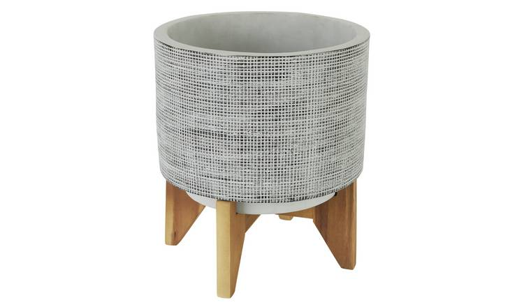 Habitat Awel Grey Terracotta Planter On Wooden Legs