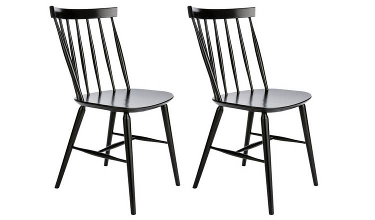 Habitat Talia Pair of Spindle Back Dining Chair - Black