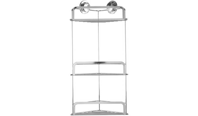 Croydex Stick 'N' Lock Three Tier Corner Basket