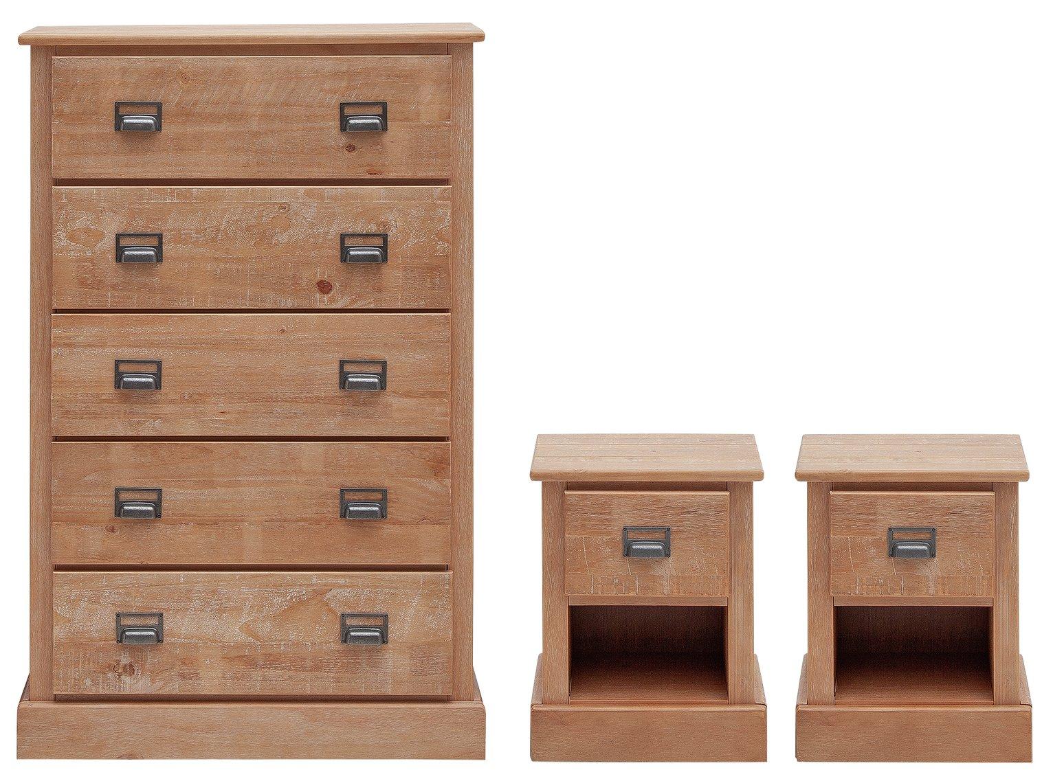 Argos Home Drury 2x Bedside & 5 Drawer Set - Light Pine