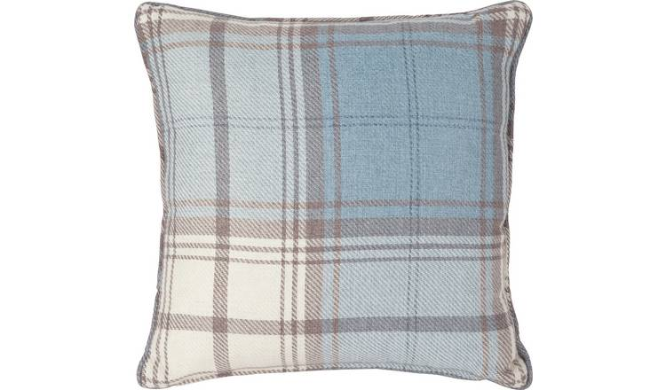 Argos Home Traditional Brushed Check Cushion - Blue