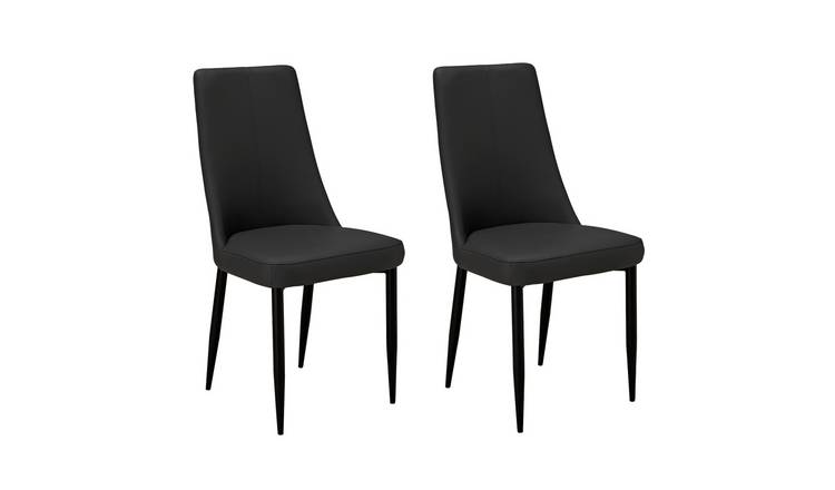 Argos Home Isla Pair of Faux Leather Dining Chairs -Charcoal