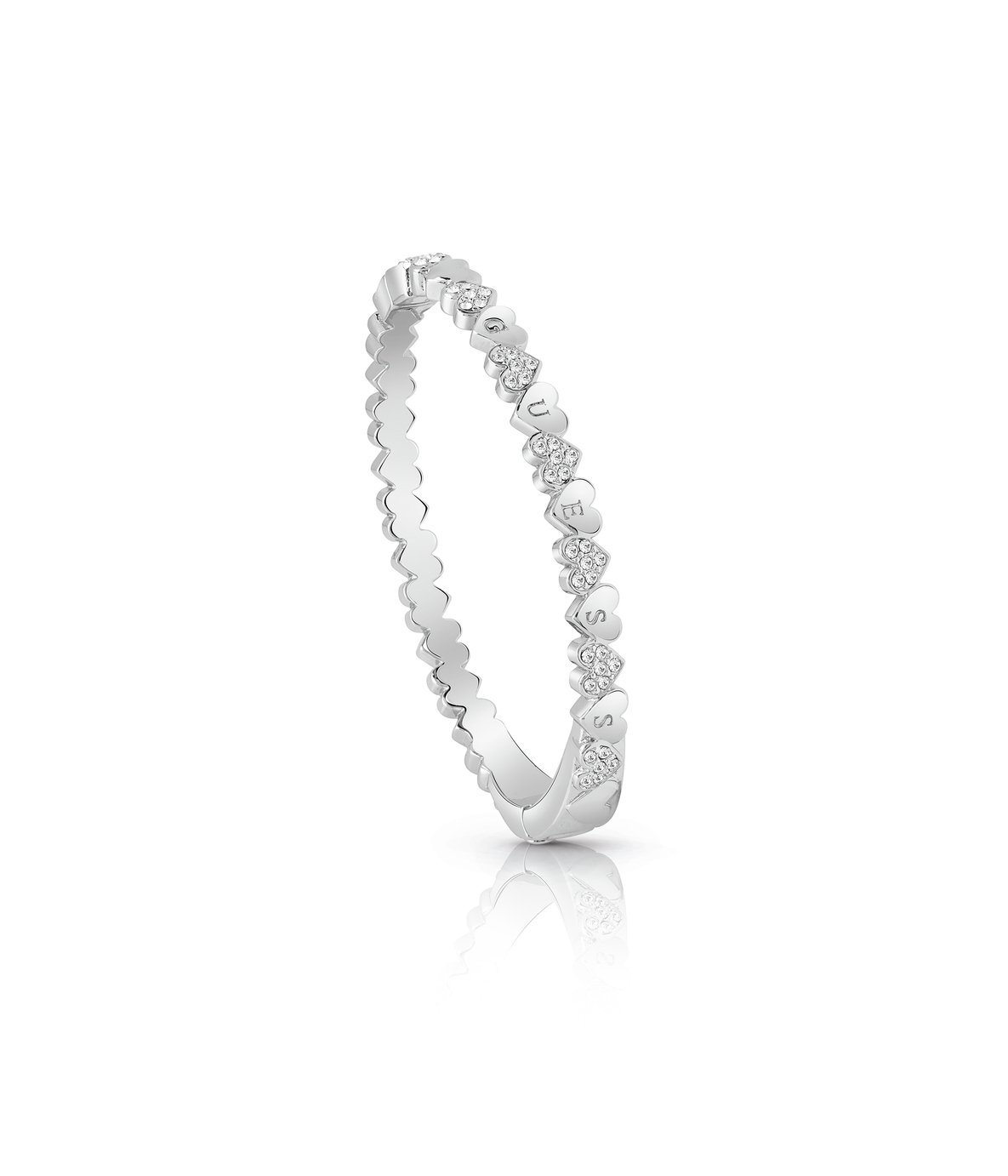 Guess Rhodium Plated Swarovski Crystal Hearts Bangle