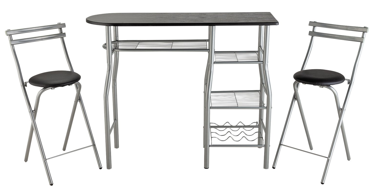 Argos Home Leon Wood Effect Bar Table & 2 Stools - Black