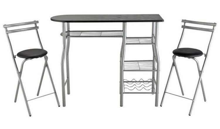 san francisco 4e80e e28d5 Buy Argos Home Leon Wood Effect Bar Table & 2 Stools - Black | Dining  tables | Argos