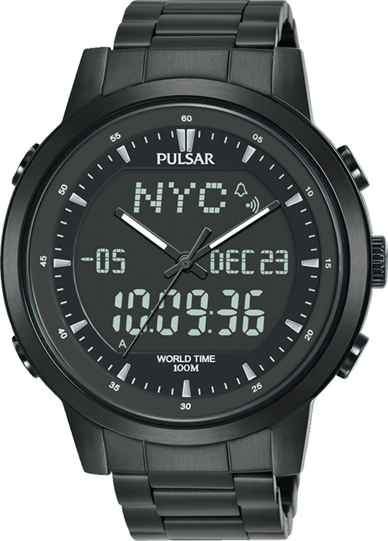 Pulsar Men's Black Iron Plated Bracelet Watch