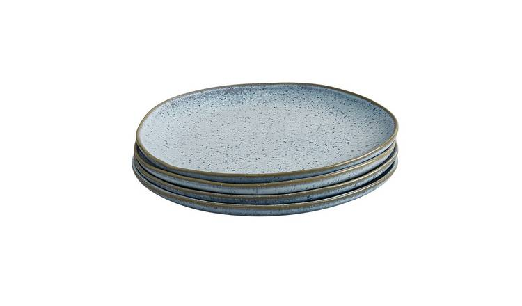 Habitat Olmo Speckled Set Of 4 Dinner Plates - Light Blue