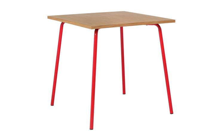 Habitat Kirby Oak and Red Gloss Metal 4 Seater Dining Table