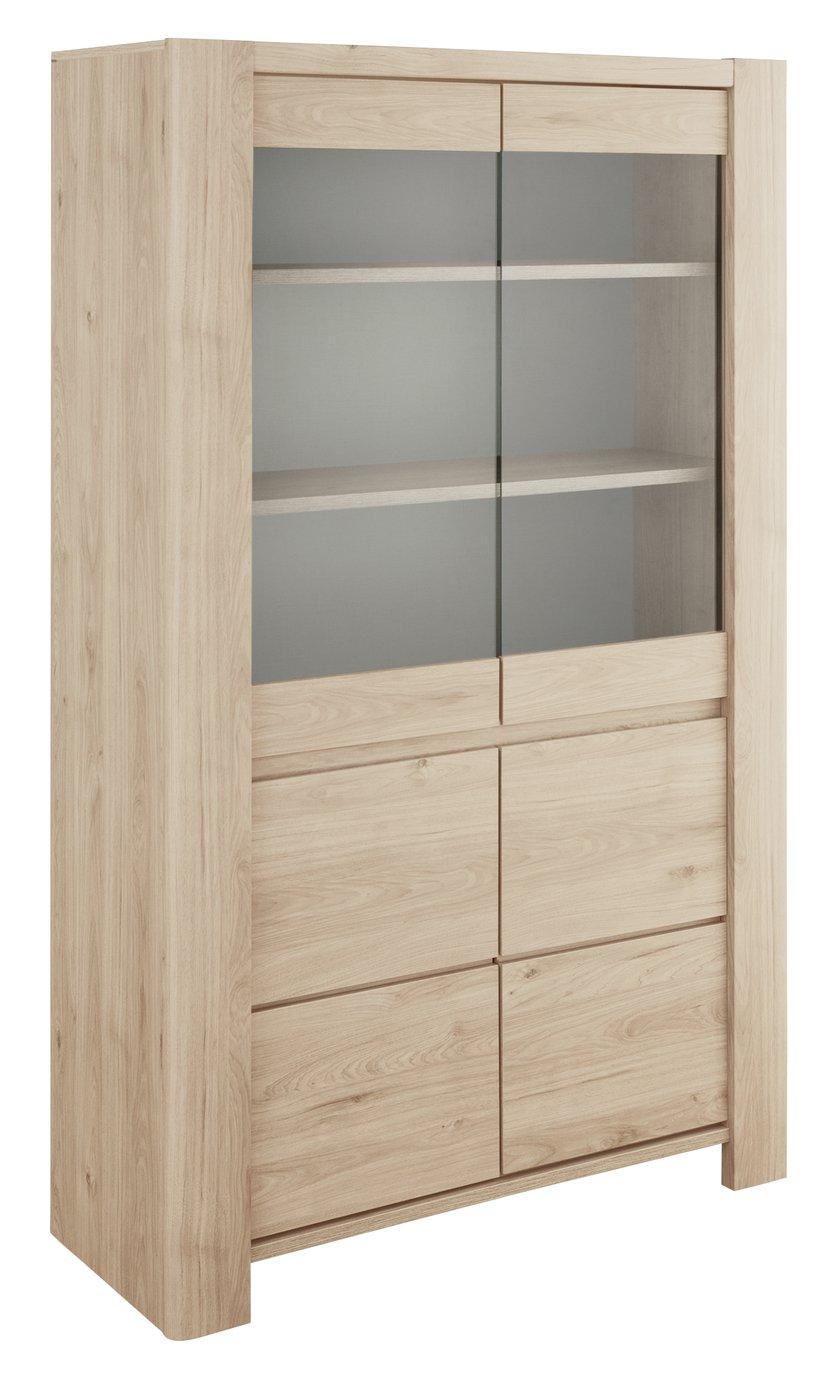 Portland 2 Door Display Cabinet - Oak