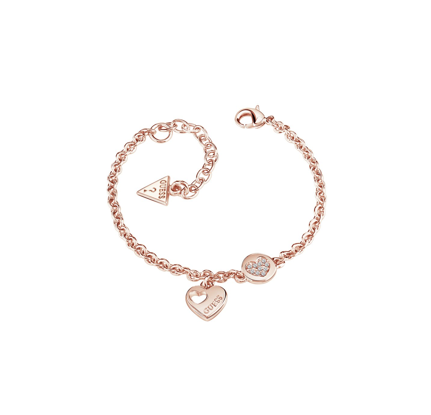 Guess Rose Gold Plated Logo Sparkle Heart Coin Bracelet