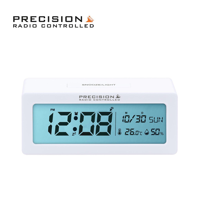 Precision Radio Controlled Alarm Clock - White