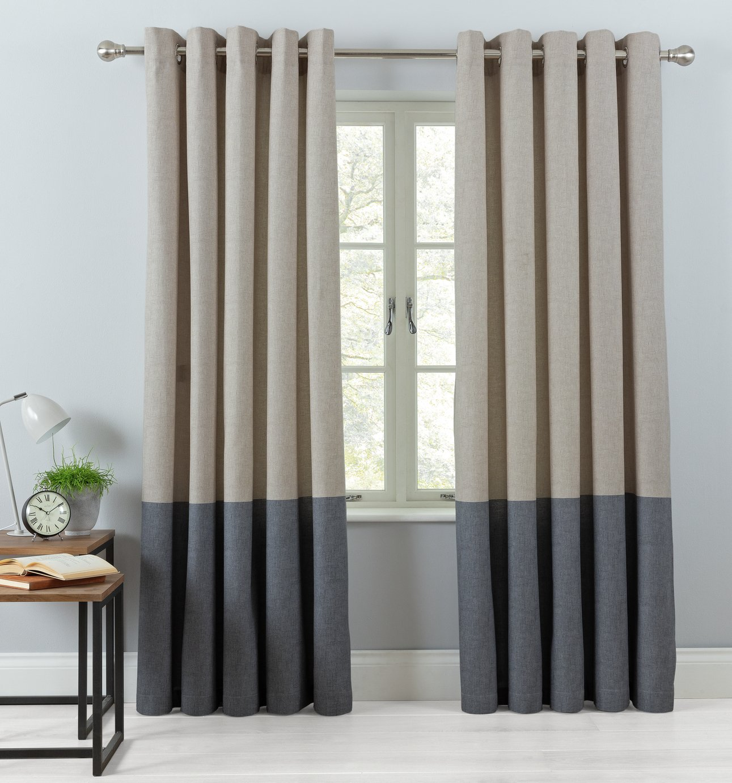 Argos Home Printed Border Unlined Eyelet Curtains - Natural