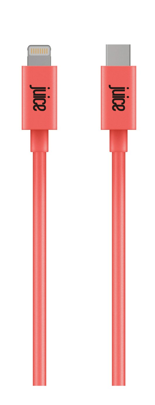 Juice App Match Lightning to USB Type-C 1m Cable - Coral