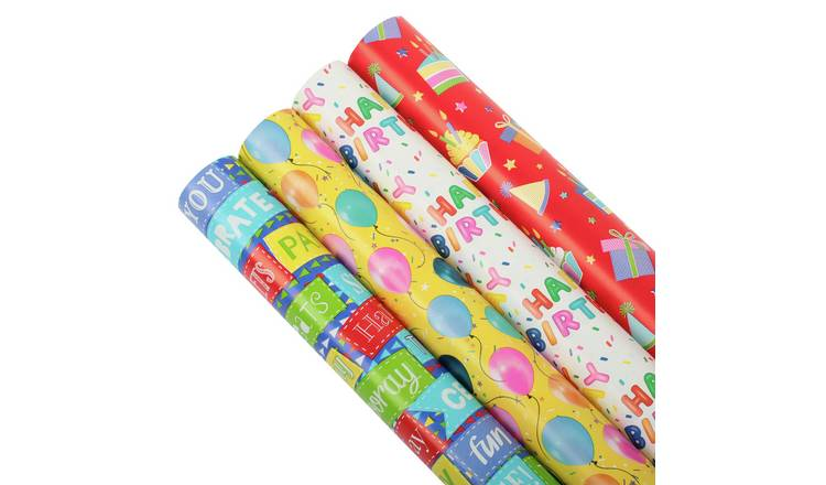 4 Piece Happy Birthday Gift Wrapping Paper Set - 3m