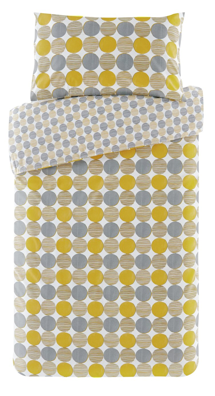 Argos Home Mustard and Grey Circles Bedding Set - Single
