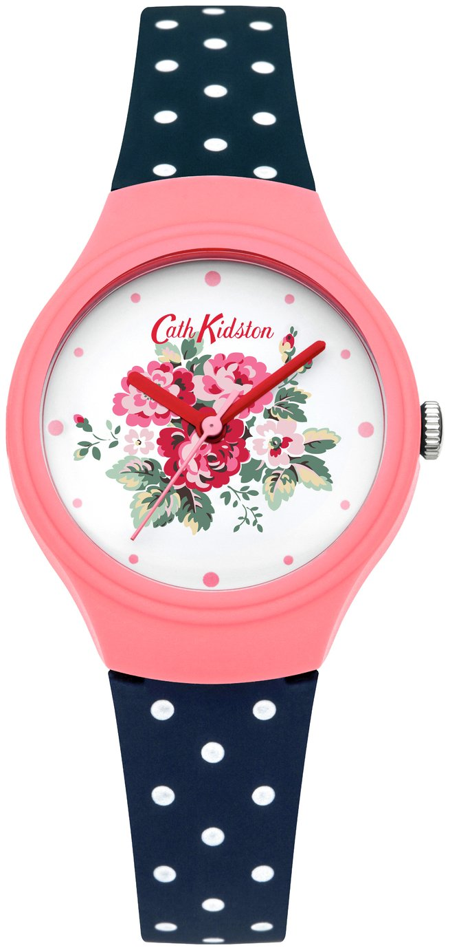 Cath Kidston Ladies Navy Polka Dot Silicone Strap Watch