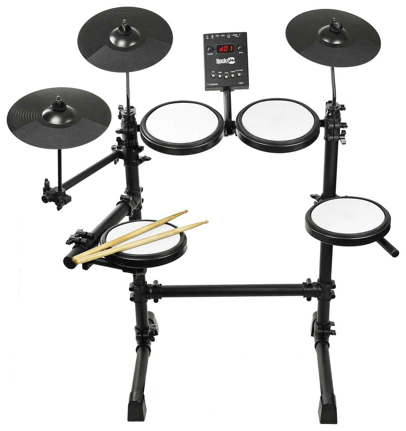 RockJam Mesh Head Digital Drum Kit With Drum Sticks